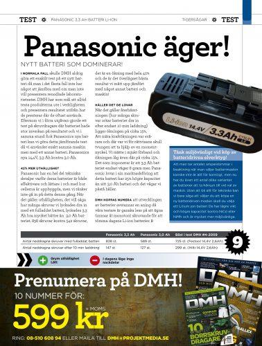 DMH testar Panasonic 3,3 Ah batteri Li-ion