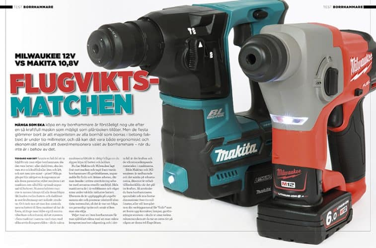 Borhammartest Milwaukee mot Makita